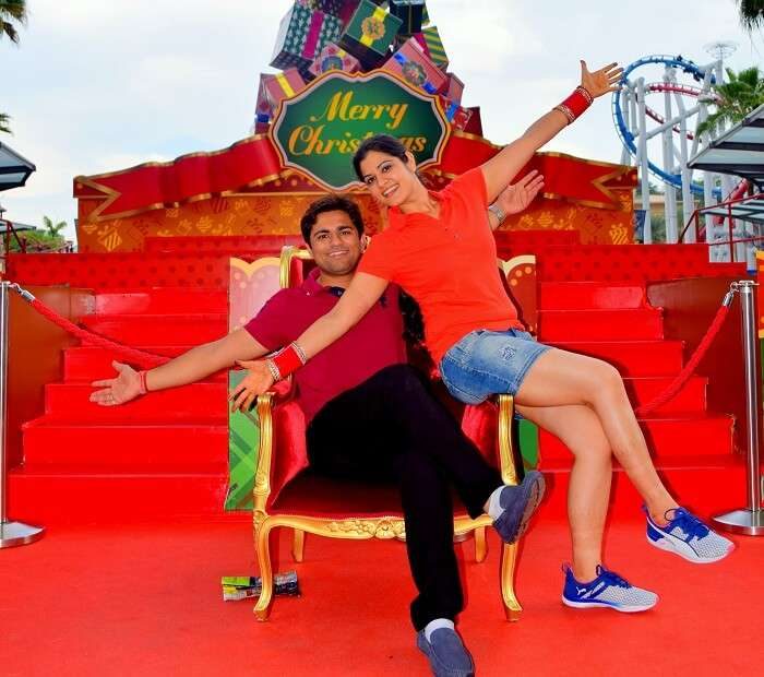Antriksh and his wife pose in Universal Studios Singapore