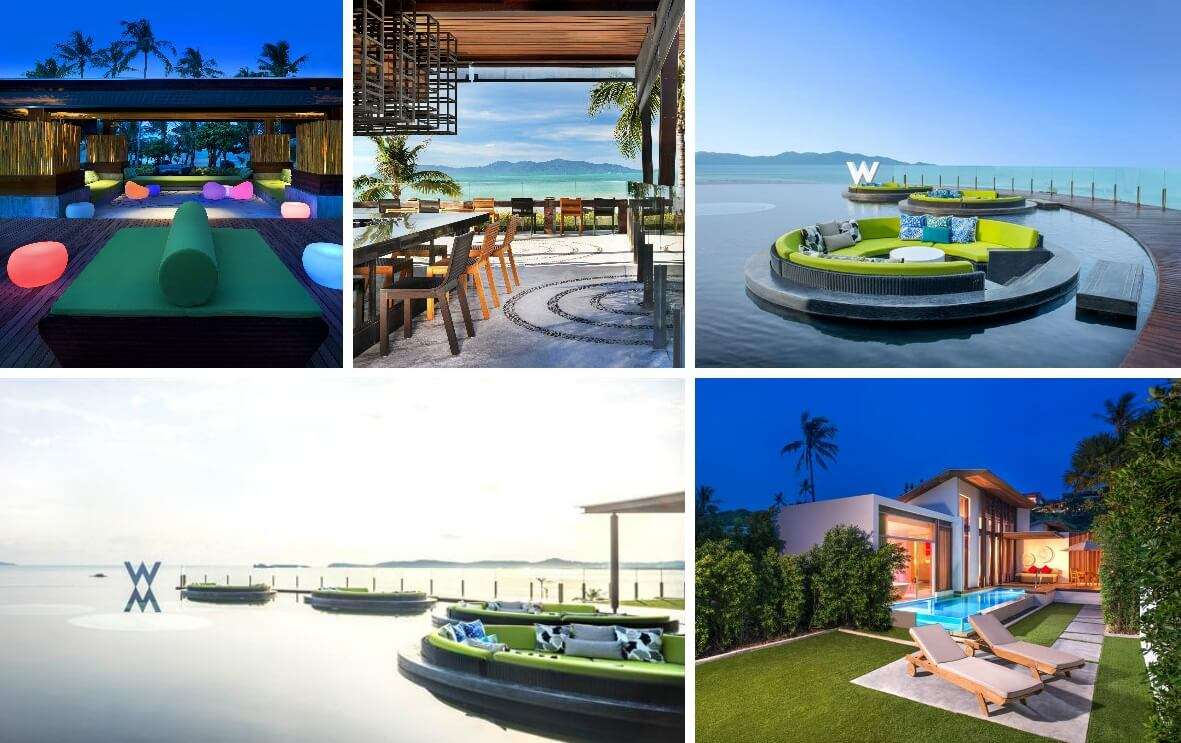 A collage of the many views from the W Retreat Beach Resort in Koh Samui