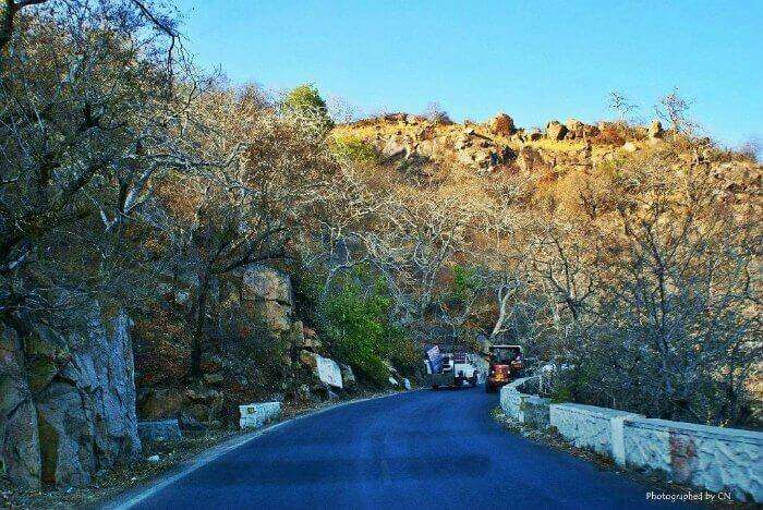 Winding, picturesque road leading to the hills of Mount Abu