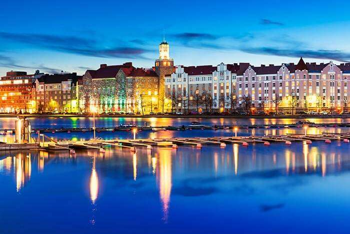 A gorgeous night view of Helsinki still illuminated by sunlight