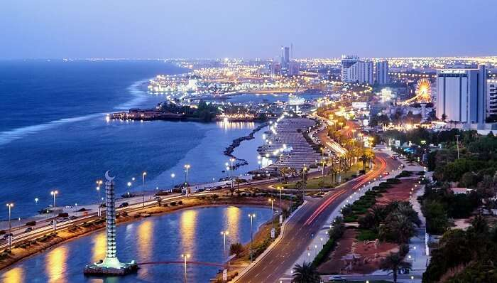 A view of the Jeddah city at night