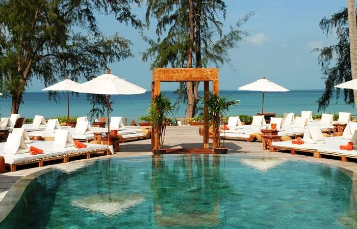 A view of the stunning pool at the chic Nikki Beach Resort