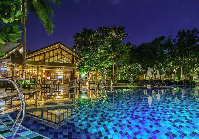 A night shot at the swimming pool of the chic Peace Resort on Bophut Beach