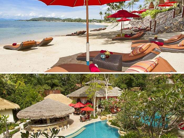 The swimming pool and beach side sitting area at Rocky Resort