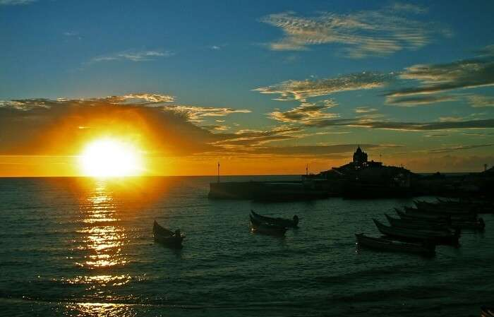 A view of the beautiful sunset at Kanyakumari