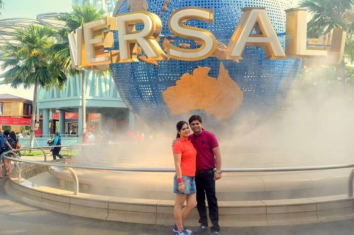 Rachit and his wife in Universal Studios Singapore