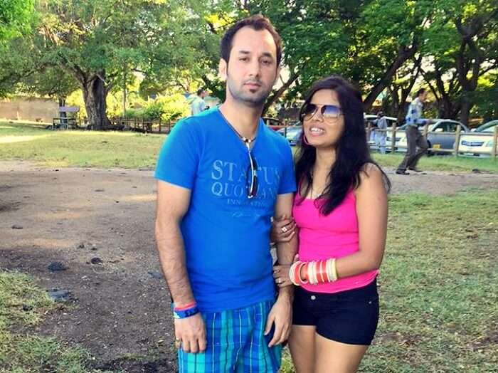 Jyoti and her husband in Mauritius