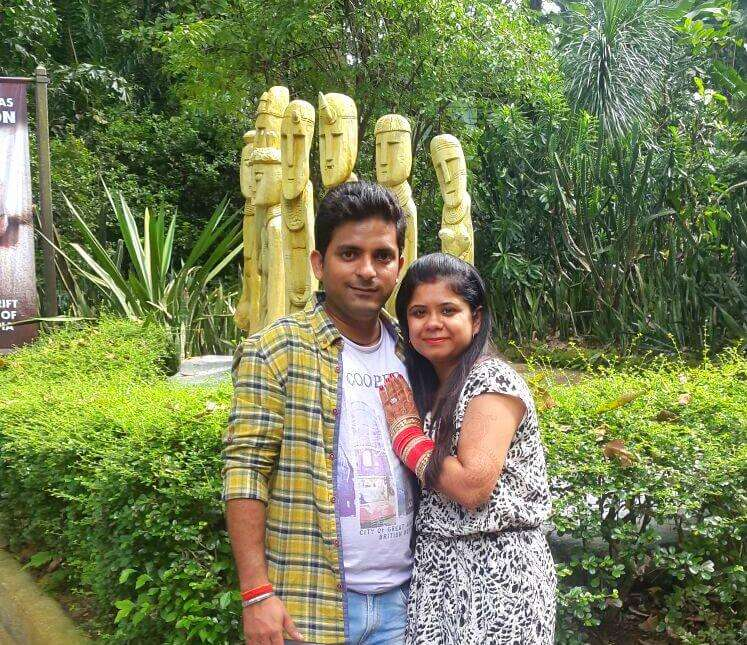 Krishna and his wife romancing in the Zoo in Singapore