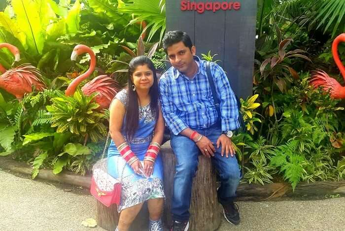 Krishan and his wife at Jurong Bird Park