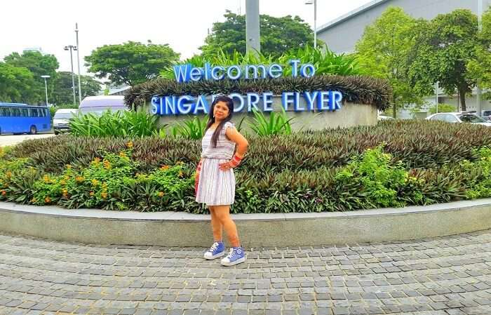 Krishan's wife at Singapore Flyer