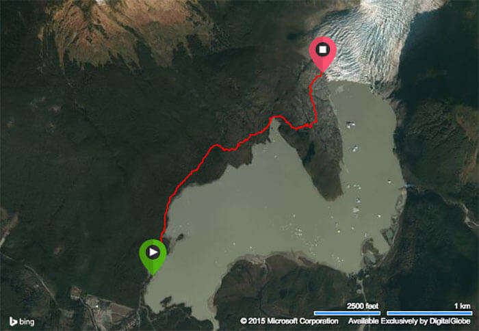 A bing map view of the strenuous trek to the ice glacier
