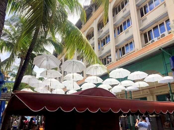 Umbrella roof market in Port Louis