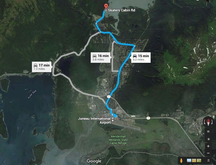 The route from airport to the beginning point of the ice trek