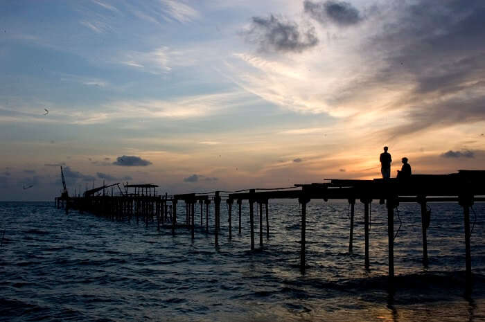 Beautiful sunset from the pier at Alappuzha beach is among the major attractions in Alleppey