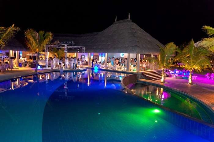 The lively ambience at C Beach Club in Mauritius