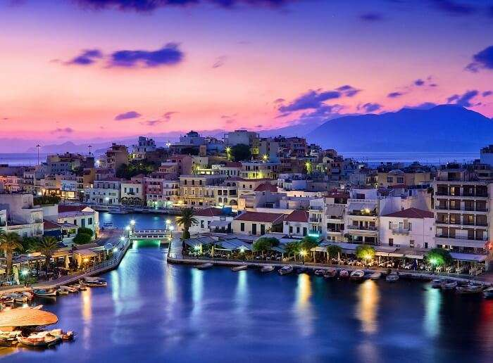 The shimmering city lights at Crete in Greece