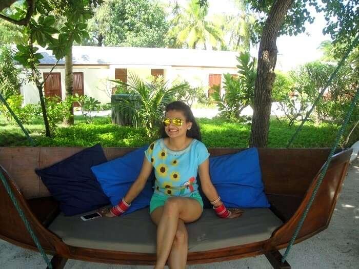 At the Ocean's Villa in Maldives