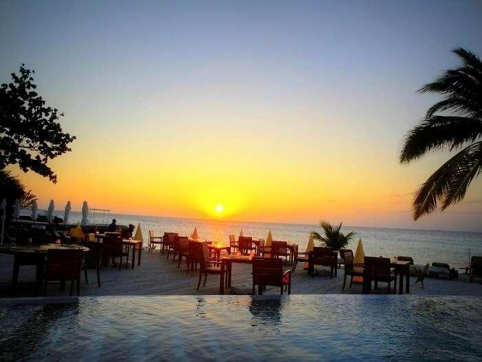 Sunset at Waves Pool Bar