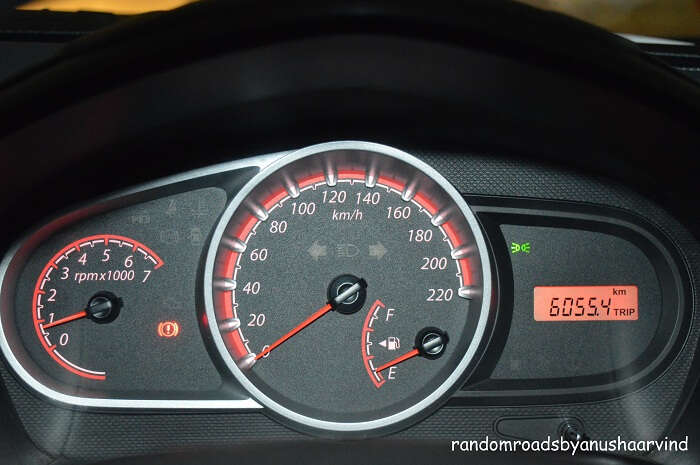 Ford Figo trip meter showing km covered