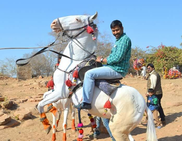 Arvind on a horse in Jaisalmer