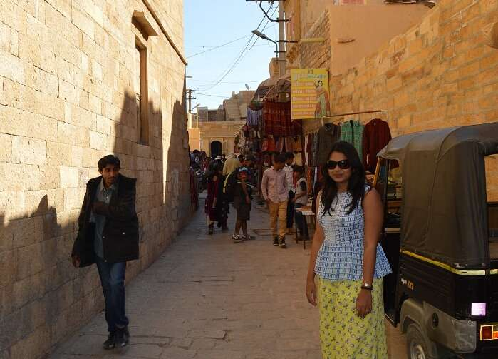 Anusha in a local market of Jaisalmer