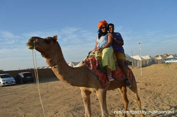 Anusha and Arvind doing a camel ride in Jaisalmer