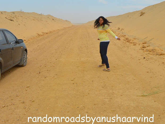 Anusha on the road to Jaisalmer