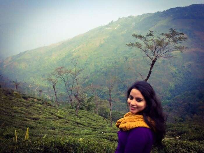 Leena enjoying the beautiful scenery in Darjeeling