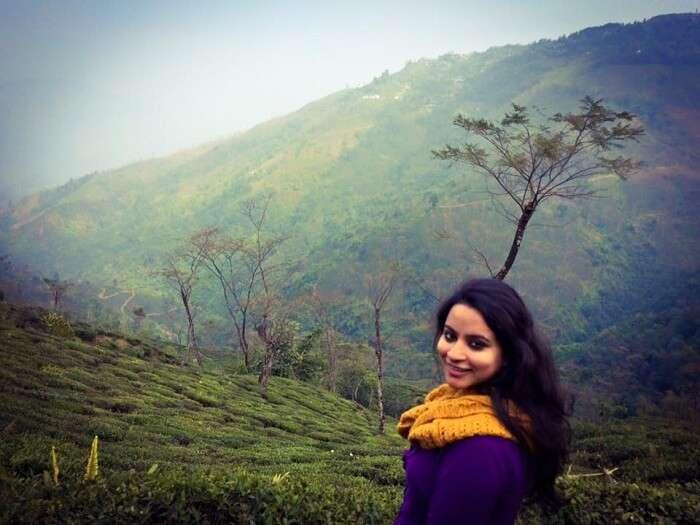Leena enjoying the beautiful scenery in Darjeeling
