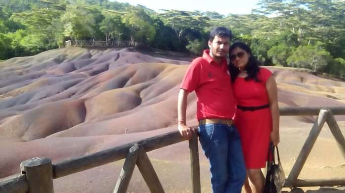 Manuj and his wife in Chamarel Grand Bassin Mauritius
