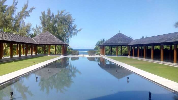 Beautiful pool in Outrigger Resort and Spa Mauritius