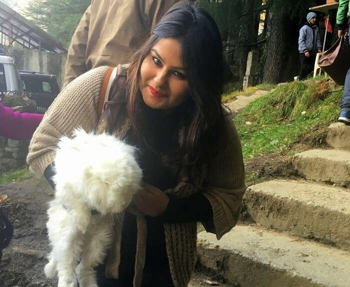 Playing with the rabbits in Manali