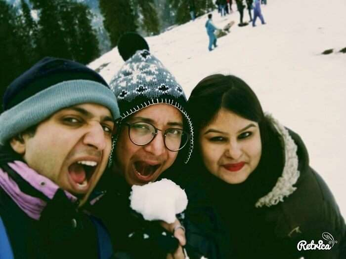 Playing with snow in Manali