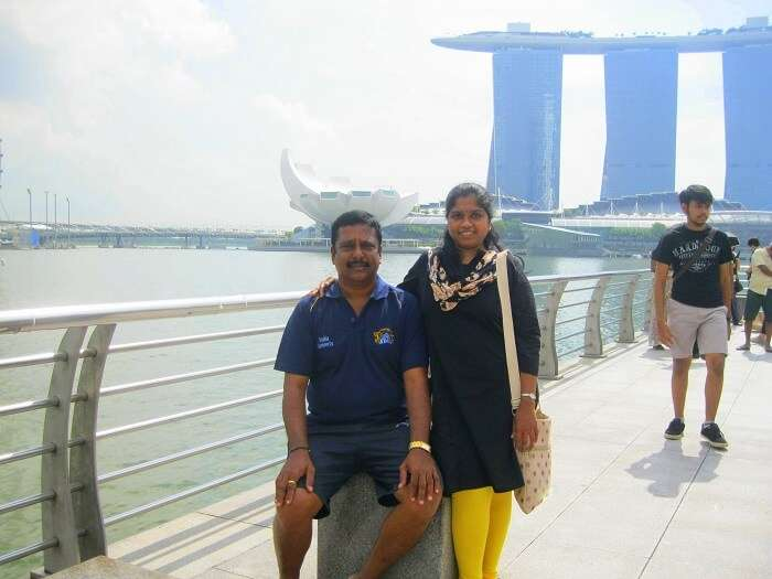Siva and his wife on the city tour in Singapore