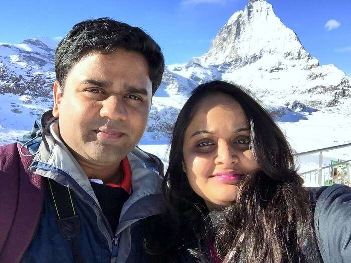 Sameer with his wife in Europe