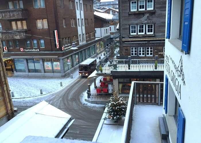The view from Sameer's hotel in Zermatt
