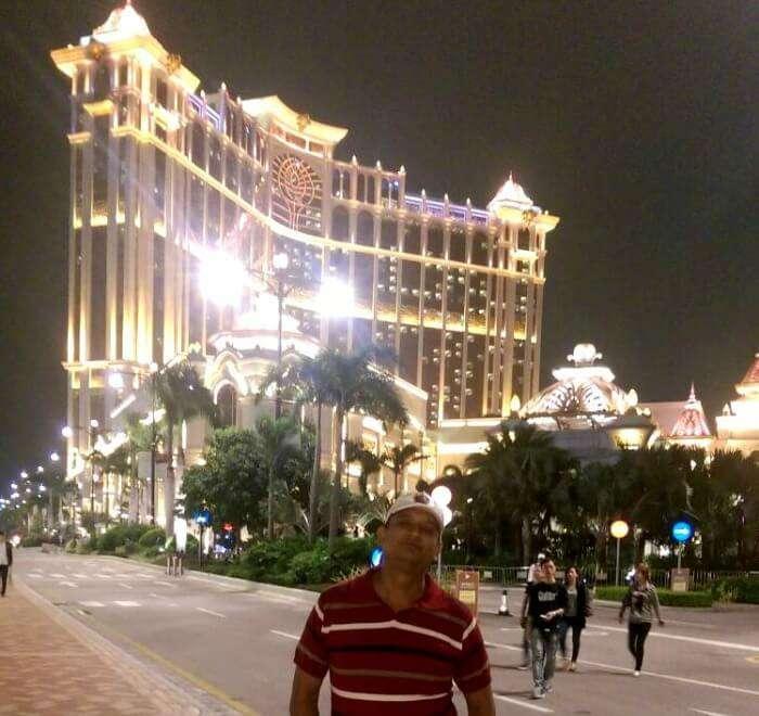 Posing in the gleaming evening in Macau