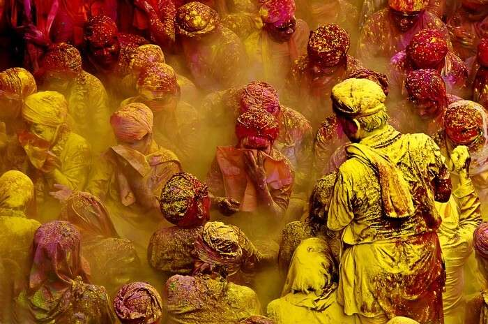 Holi in mathura is played with organic colors and flower petals