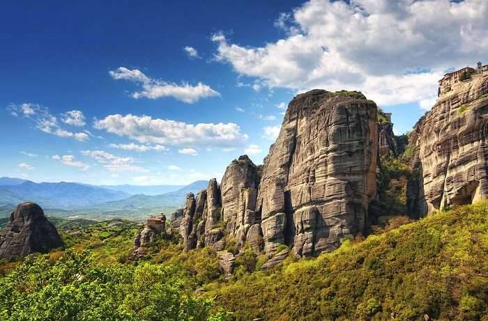 The beautiful valleys and rock formations which hold monasteries at top at Meteora in Greece