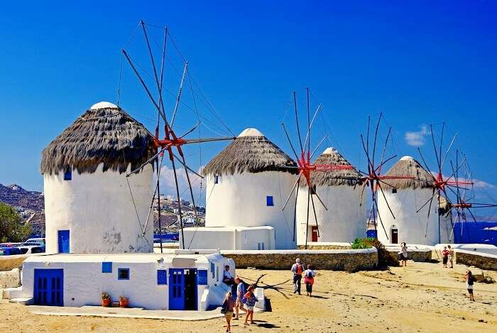 Iconic windmills at Mykonos Town are one of the main tourist attractions in Greece