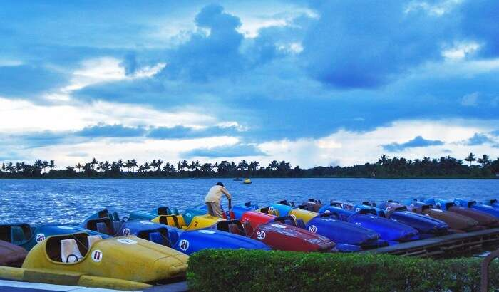 Nalban Boating Complex in Kolkata is crowded with couples during the pleasant days