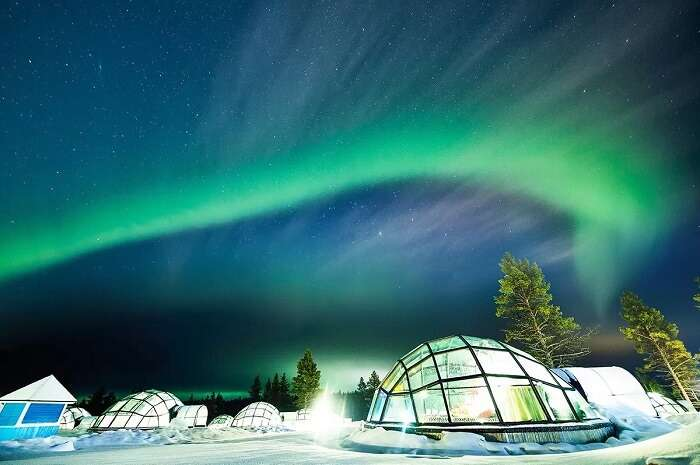 The view of striking Northern Lights from the Glass Igloos in Finland
