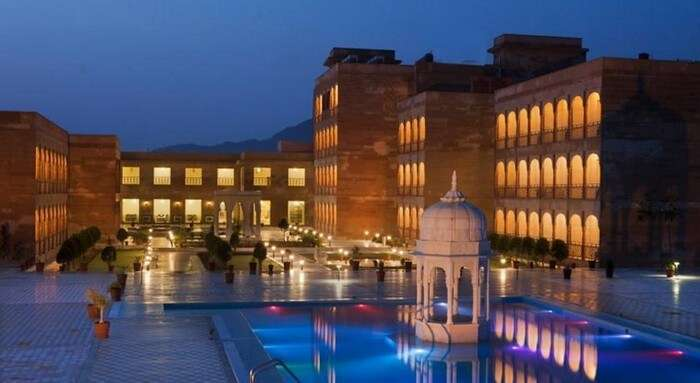 Evening lamps lighting up Pratap Palace - another name among best Pushkar resorts
