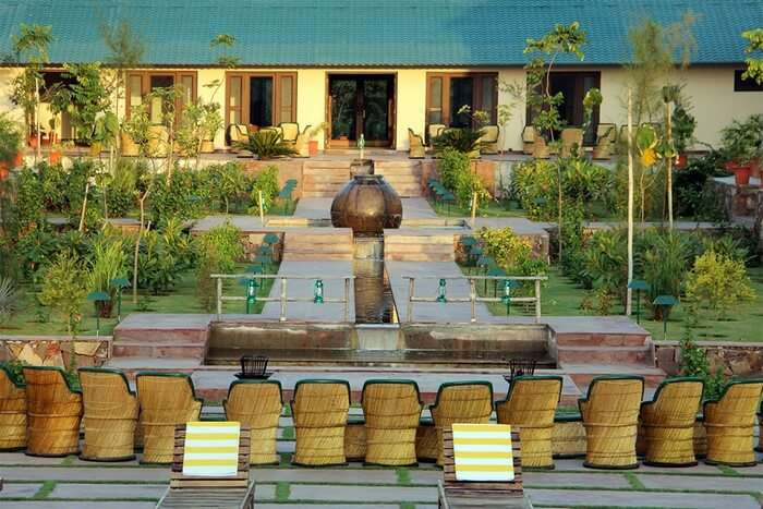 Courtyard at Ranthambhore Kothi is among the best features at this resort in Ranthambore
