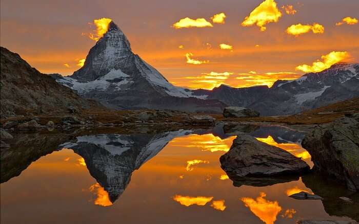 A sunrise at Matterhorn should not be missed on a Switzerland Honeymoon
