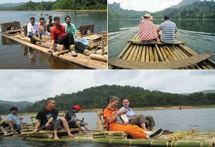 Scenes from bamboo rafting that is among the popular things to do in Thekkady