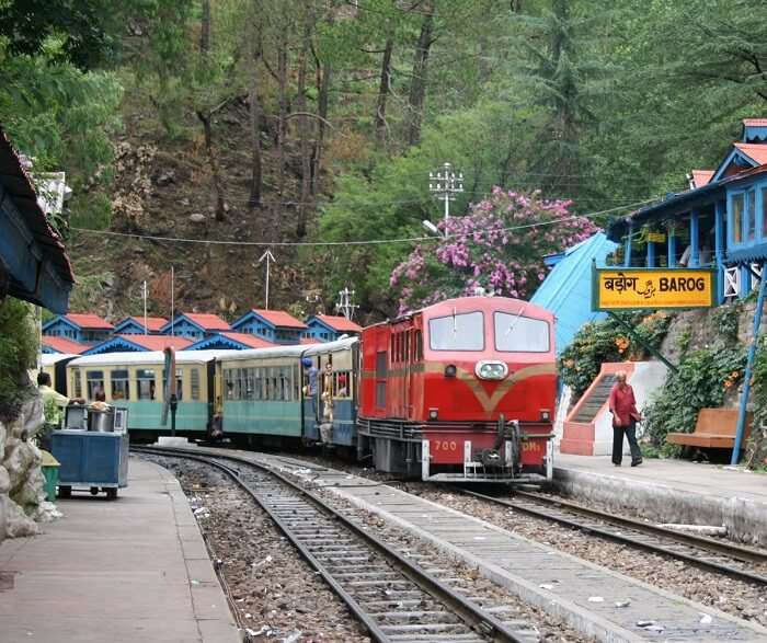 A train enters the Barog Railway Station