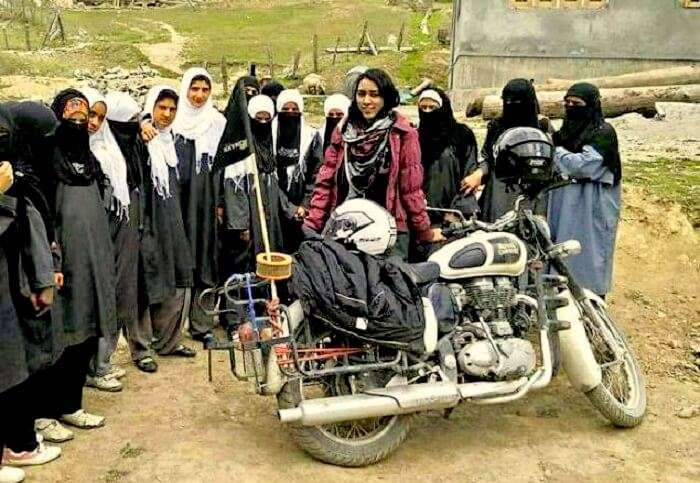 Candida with school girls in Gurez Valley Kashmir