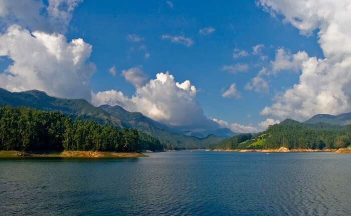 The serene Mattupetty Dam reservoir near Munnar