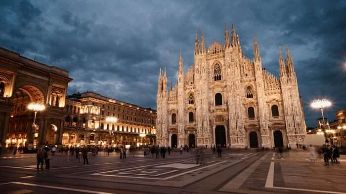 A late evening shot of a cathedral in Milan